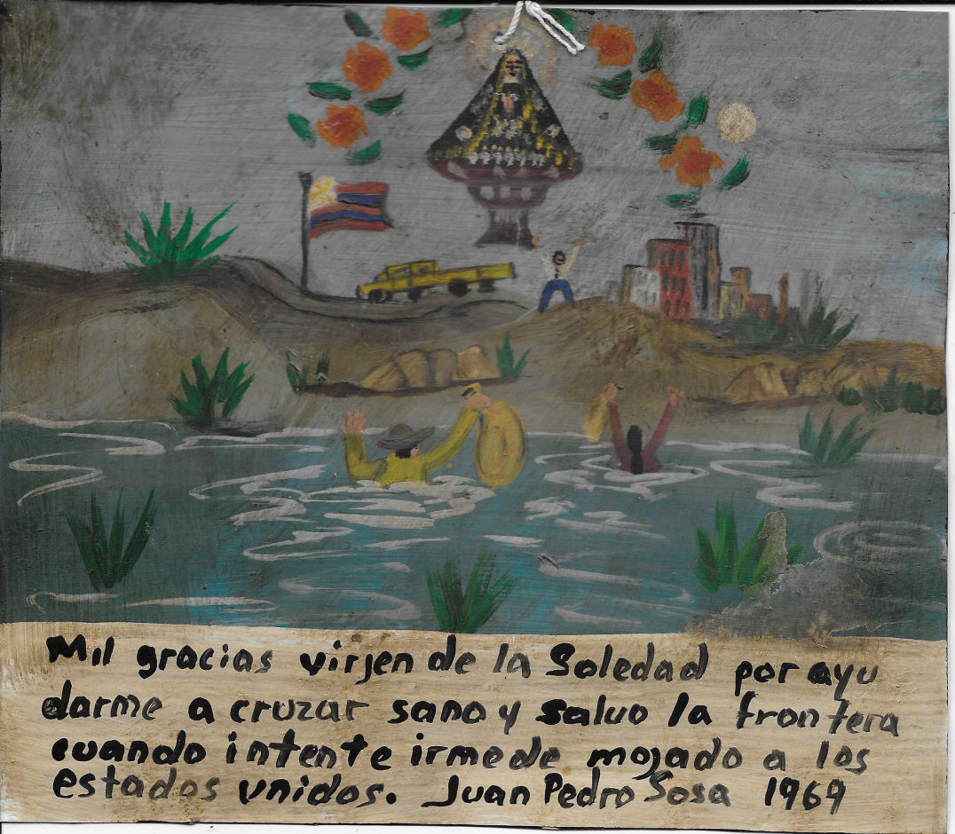 Mexican retablo thanking the virgin for help in crossing the river